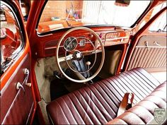 Custom bench seat in VW Bug Vw Beetles, Vw Super Beetle, Vw Engine, Car Upholstery, Fancy Cars, Vw Cars, Transporter, Vw T1, Motor Car