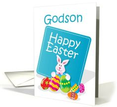 Happy Easter Godson Bunny with Eggs card (767371)
