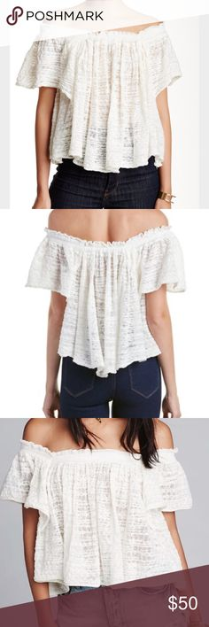 """NWT: Free People Ivory Thrills & Frills Sweater An off-shoulder design elongates your neck and torso in the see-through Thrills & Frills Sweater. - Off-the-shoulder neck - Short sleeves - Approx. 16"""" length 81% cotton, 19% nylon Dry clean or hand wash cold True to size. Free People Tops Blouses"""