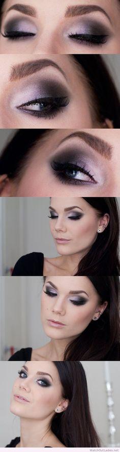 Linda Hallberg pink and black eye makeup idea