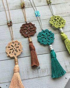 Boho tassel necklace boho crochet pendant 20 long - tinker with wool - . - Boho tassel necklace boho crochet pendant 20 long – tinker with wool – - Crochet Ornaments, Crochet Crafts, Yarn Crafts, Crochet Projects, Diy Projects, Crochet Stitches, Knit Crochet, Crochet Patterns, Boho Crochet