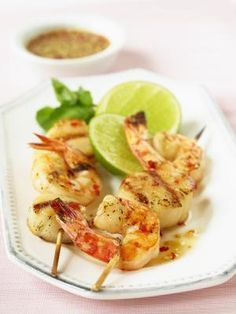 Shellfish Skewers with Sweet and Spicy Dipping Sauce