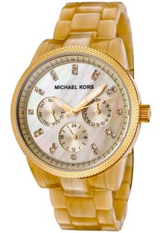 Michael Kors White Swarovski Crystal Beige Horn Plastic Watch $157.50