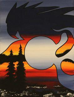 Landing A Painting By Peter Bighetty A Kitigan #Artist | Kitigan.com #NativeArt #IndigenousArt #AboriginalArt #Aboriginal