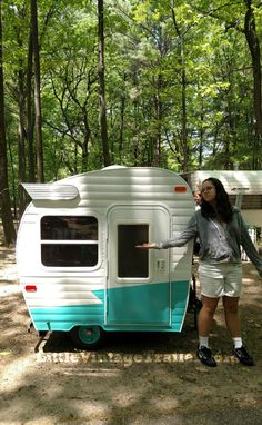 Adorable child-scale vintage travel trailer, built by Butch Starner for his granddaughters...