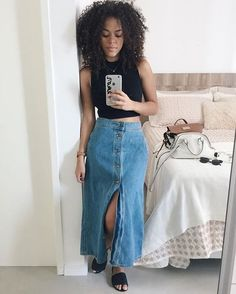 Looks com Saia Longa 2019 ⇒ Como Usar as Maxissaias【 FOTOS 】 - Roupas femininas - Date Outfits, Skirt Outfits, Dress Skirt, Cool Outfits, Casual Outfits, Modest Fashion, Girl Fashion, Fashion Looks, Fashion Outfits