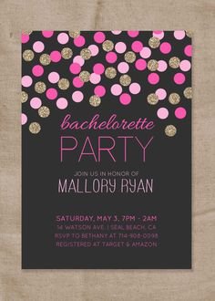 """Bachlorette Party Pink and Gold Glitter Invitation 5x7"""" Printable Digital File or Prints"""