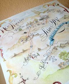 hand drawn, lettered and watercolored wedding map by Danae Blackburn