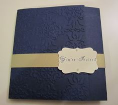 Stampin' Up wedding invitation - navy and gold