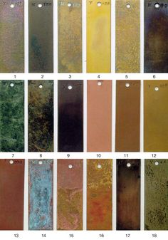 METALS FINISH GUIDE-(AB) Copper Work, Copper And Brass, Copper Color, Patina Metal, Bronze Patina, Metal Facade, Metal Art Projects, Metal Furniture, Furniture Design