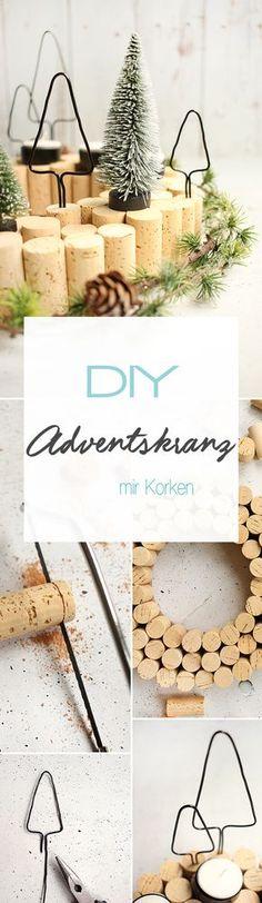 Dani vom DIY Blog Gingered Things zeigt euch kreative Ideen zum selber machen von diesem Adventskranz im skandinavischen Stil aus Korken und schwarzem Draht. Perfekt für Weihnachten und die Adventszeit.