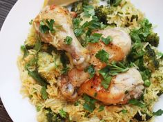 A one-pot meal of chicken cooked with tender broccoli and rice.
