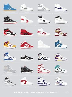 Iconic basketball and running sneakers from the 80's and 90's