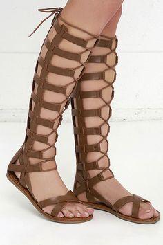 Mia Devi Cognac Tall Gladiator Sandals at Lulus.com!