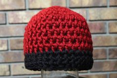 Reversible Crochet Beanie Hat in Autumn Red and by PurlsAndPixels