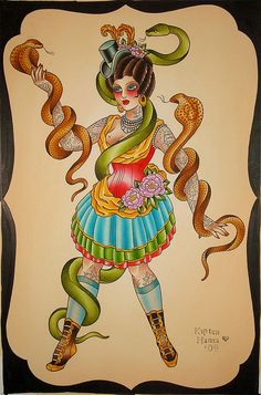 snake charmer by kapten hanna I Tattoo, Cool Tattoos, Tattoo Flash, Tatoos, Circus Tattoo, Halloween Circus, Flash Art, Wow Art, My Canvas