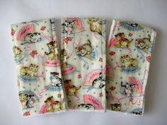 Burp Cloths- Kittens and Fans, Retro, Set of 3
