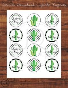 Printable Cactus Theme Cupcake Toppers, Cactus Theme Baby Shower, It's A Boy, Welcome Baby, Digital Download