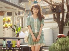 Short-Sleeved Lace Trim Drawcord Dotted Dress - Tokyo Fashion | YESSTYLE