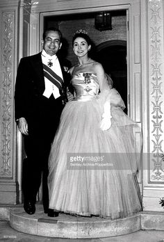 London, England, 4th May 1960, Dr, Roberto Arias and his wife Dame Margot Fonteyn stand on the doorstep of their home before leaving for Buckingham palace dressed in formal eveningwear