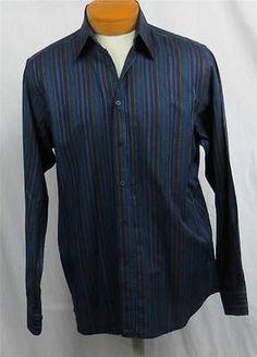 Ted Baker Mens Dress Shirt Size 3 Medium Black Navy Blue Gray Striped 32 Sleeve | eBay