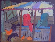 Painting of a farmyard scene. Gouache and Acrylic. Farm Yard, Gouache, Africa, Scene, Paintings, Display, Art, Art Background, Paint