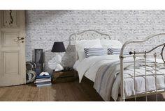 Wunderbar Ein Gelungenes Beispiel Für Eine Steintapete Im Schlafzimmer. Durch Die  Kombination Der Hellen Ziegel Mit