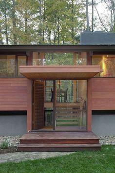 Modern split level entrance.  (Love this site)