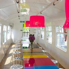 Deptford Project Café by Morag Myerscough inside a commuter train carriage. Bus Restaurant, Restaurant Design, Cafe Design, Interior Design, Bakery Interior, Bus Art, Add A Room, Desk Layout, Mobile Art