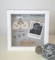 Anniversary Gift Wedding Personalised Frame Scrabble Gifts For Her Him Partner Photo Keepsake Love