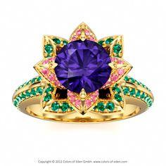 Lotus Ring #Tanzanite #Pink #Green