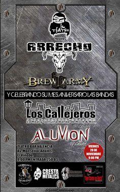 """El Teatro Bar Valencia presenta: """"Arrecho, Los Callejeros, Brew Army y Aluvión"""" http://crestametalica.com/events/el-teatro-bar-valencia-presenta-arrecho-los-callejeros-brew-army-y-aluvion/ vía @crestametalica"""