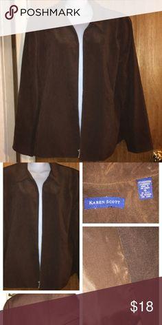 """Like new Brown Faux Suede Jacket Like new, lined, shoulder pads, 2 pockets, nice & soft. Measurements: shoulders 18"""" sleeves 25"""" pit2pit 23"""" Karen Scott Jackets & Coats"""