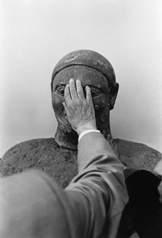 Sicily. Palermo. Argentinian poet Jorge Luis BORGES visiting the National Gallery 1984. by  Ferdinando Scianna