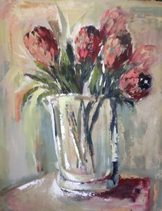 Africa protea Flower Painting, Art Painting, Floral Art, Protea Art, Beautiful Paintings, Oil Painting, African Art, Art Pictures, South African Artists