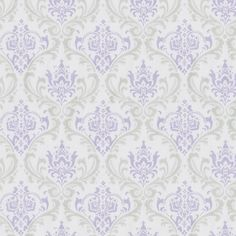 "Lilac and Silver Gray Damask Fabric by the Yard #carouseldesigns - 54"" - $10.00 - babybedding.com"