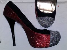 red silver and black glitter pump