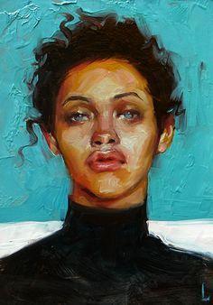 """Caribbean Blue"" - John Larriva, oil on hardboard, 2015 {figurative #expressionist art female eyes #impasto woman face portrait painting #loveart} http://larriva.blogspot.com"
