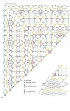 Crochet Shawl Diagram, Crochet Chart, Crochet Stitches Patterns, Shawl Patterns, Crochet Poncho, Crochet Scarves, Crochet Doilies, Crochet Clothes, Crochet Lace