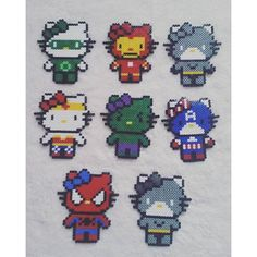Super Hero Hello Kitty perler beads by Melt Beads Patterns, Bead Patterns, Cross Stitch Patterns, Pixel Design, Melting Beads, Perler Patterns, Craft Corner, Plastic Canvas, Perler Beads