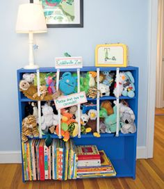 MAKE A STUFFED ANIMAL ZOO  With their plush pals corralled behind these elastic bars, kids can grab them for playtime, then pile them back in when the fun is done.
