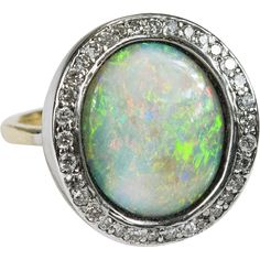 3.68ctw Original Effy Diamond Opal Ring 18k 14k Gold