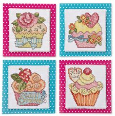 CrossStitcher March issue (263) free cupcake card design. Click on link below picture. Also, can print off the polka dot backing paper. This is so cute!
