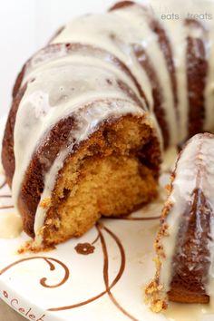Salted Butterscotch Coffee Cake ~ Moist Butterscotch Cake with a Cinnamon Swirl and Salted Butterscotch Glaze!