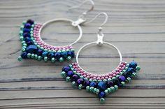 circle earrings with beads. hoop earrings by CattaleyaJewelry