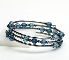 Sultry Blue Memory Wire Bracelet - Indian Sapphire Montana Denim Blue Swarovski Crystal Bracelet with Dark Metallic Beads - Indigo Bracelet