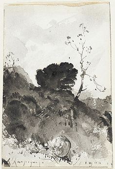 Henri-Joseph Harpignies (France, Valenciennes, 1819 - 1916)  Landscape, 1900  Drawing, Pen, brush and gray wash, Sheet: 4 7/16 x 3 in. (11.27 x 7.62 cm)  Gift of Dr. and Mrs. Werner Z. Hirsch (M.85.183.2)