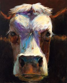 Cow Painting Ava 16x20 Original Painting by peacockgarden on Etsy, $325.00