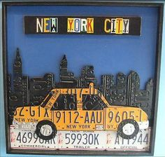 nyc yellow cab American Icons Created Out of Recycled License Plates
