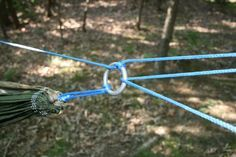 """Single Line Suspension (SLS) """"Not long ago, while lying in my hammock, I had an idea for a suspension system. It's a kind of hodge podge of features from different systems with a new twist: the ability to adjust the ridge line length/ hammock sag on the fly. I'm calling it the Single Line Suspension (SLS).""""  Resource for Hammocks"""